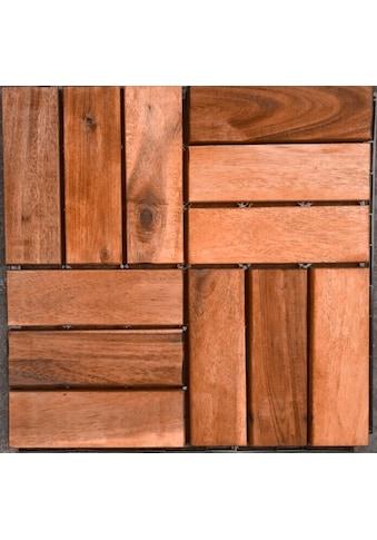 MERXX Holz - Fliesen »Eukalyptus«, mit Klick - Verbindung, Fläche: 0,9 m²/Paket, braun kaufen