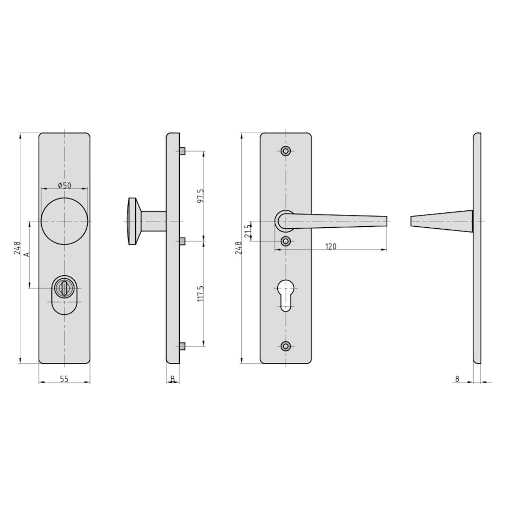 BASI Türbeschlag »SB 7500 ES0 - ZA 72/8 mm Alu F1«, eckig