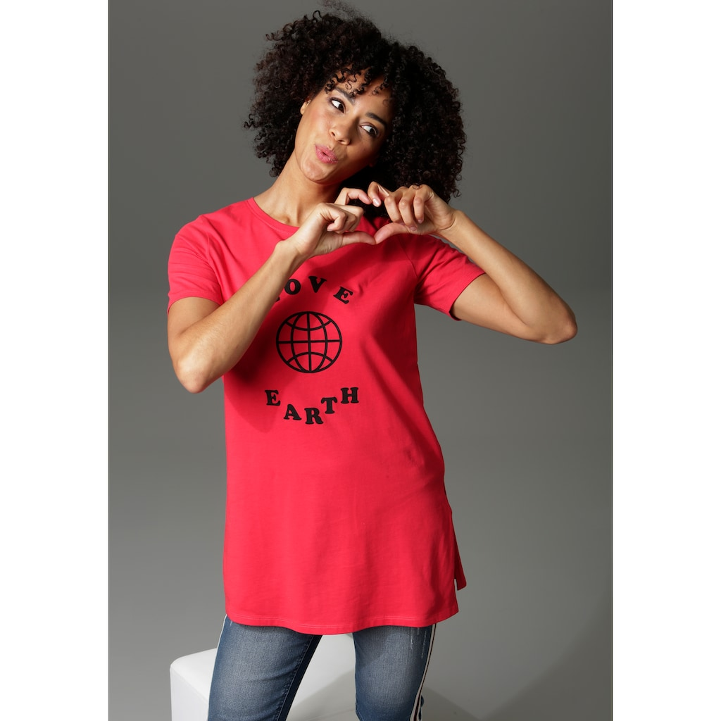 Aniston CASUAL T-Shirt, mit Druck und Statement-Schriftzug - NEUE KOLLEKTION