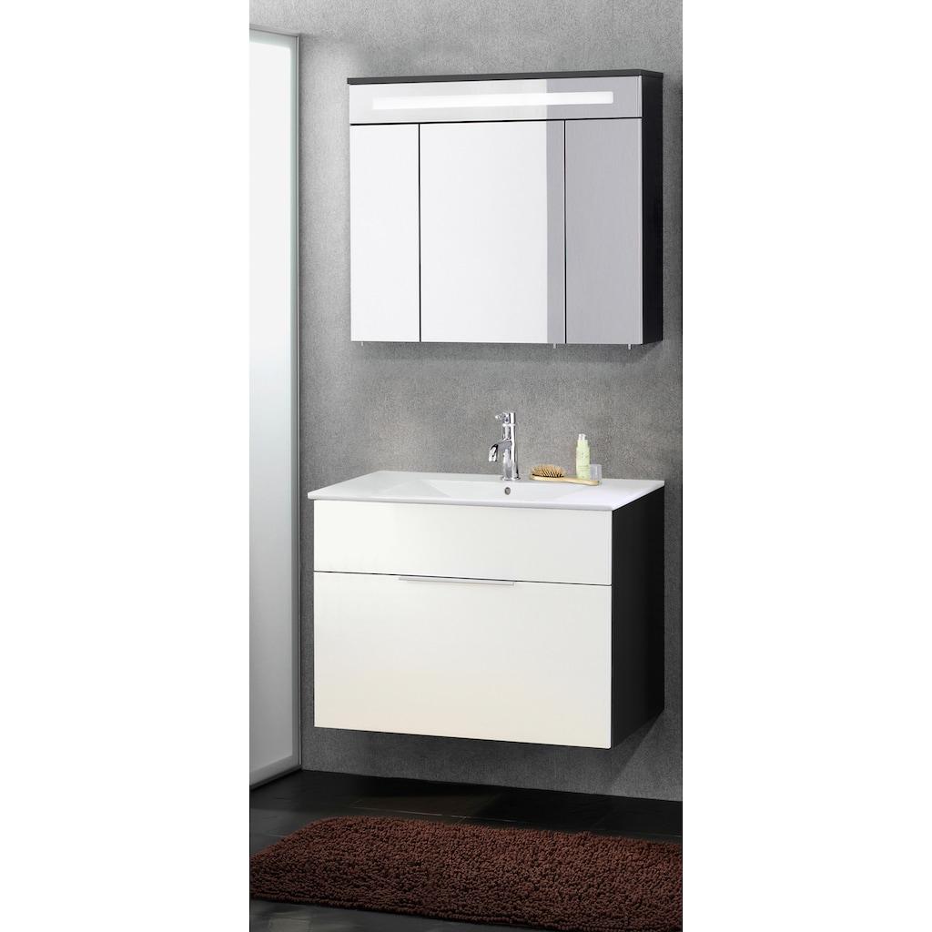 FACKELMANN Spiegelschrank »Kara«, Breite 80 cm, 3 Türen, LED-Badspiegelschrank, doppelseitig verspiegelt