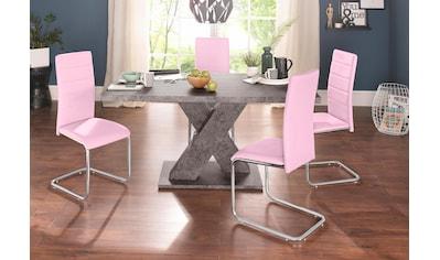 Essgruppe, (Set, 5 tlg.), mit 4 Stühlen und Tisch in Zement-Optik kaufen