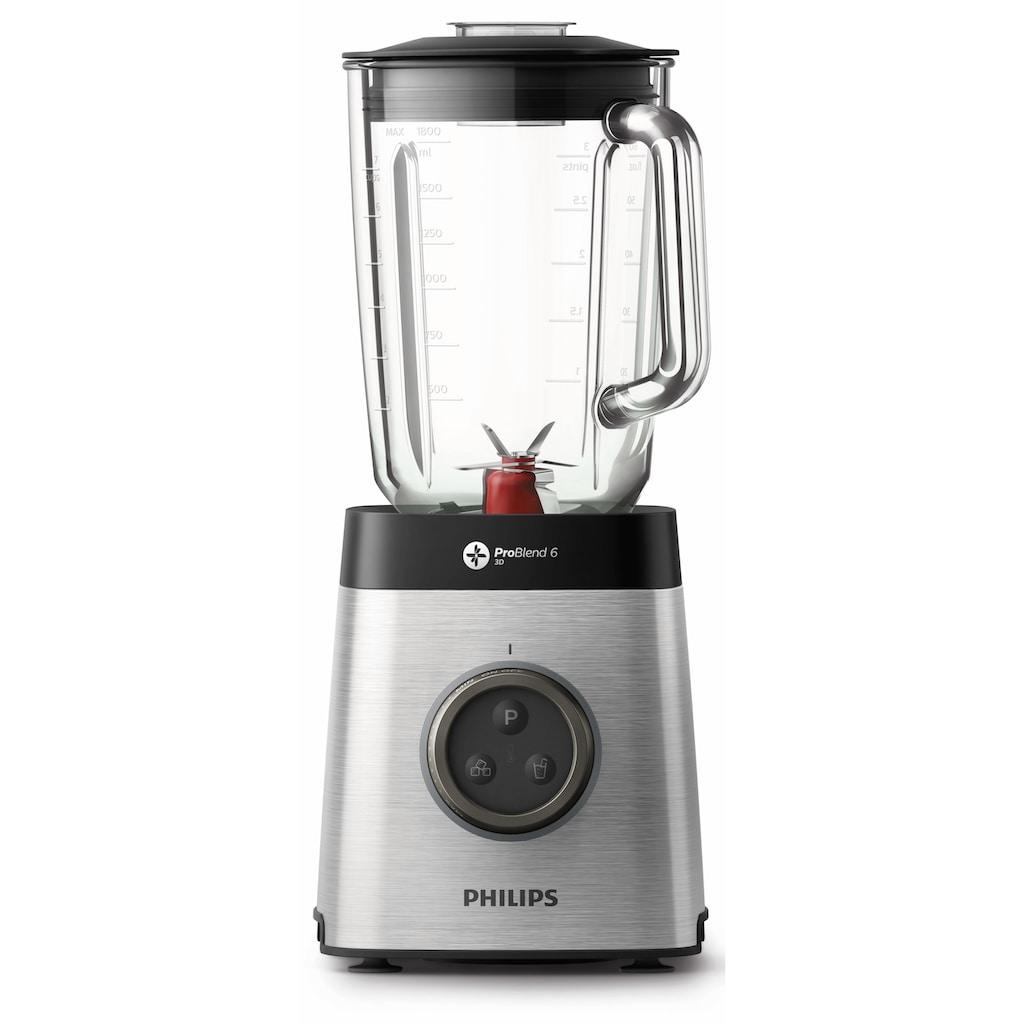 Philips Standmixer »HR3655/00«, 1400 W, ProBlend 6 3D Technologie, 2 Liter Glasbehälter, 2x Trinkbecher, Spülmaschinenfest)