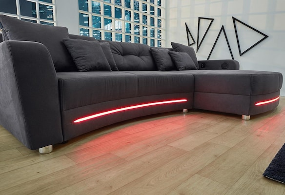 Ecksofa mit LED-Beleuchtung
