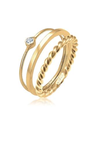 Elli Solitärring »Ring-Set mit Swarovski® Kristalle 925 Silber« kaufen