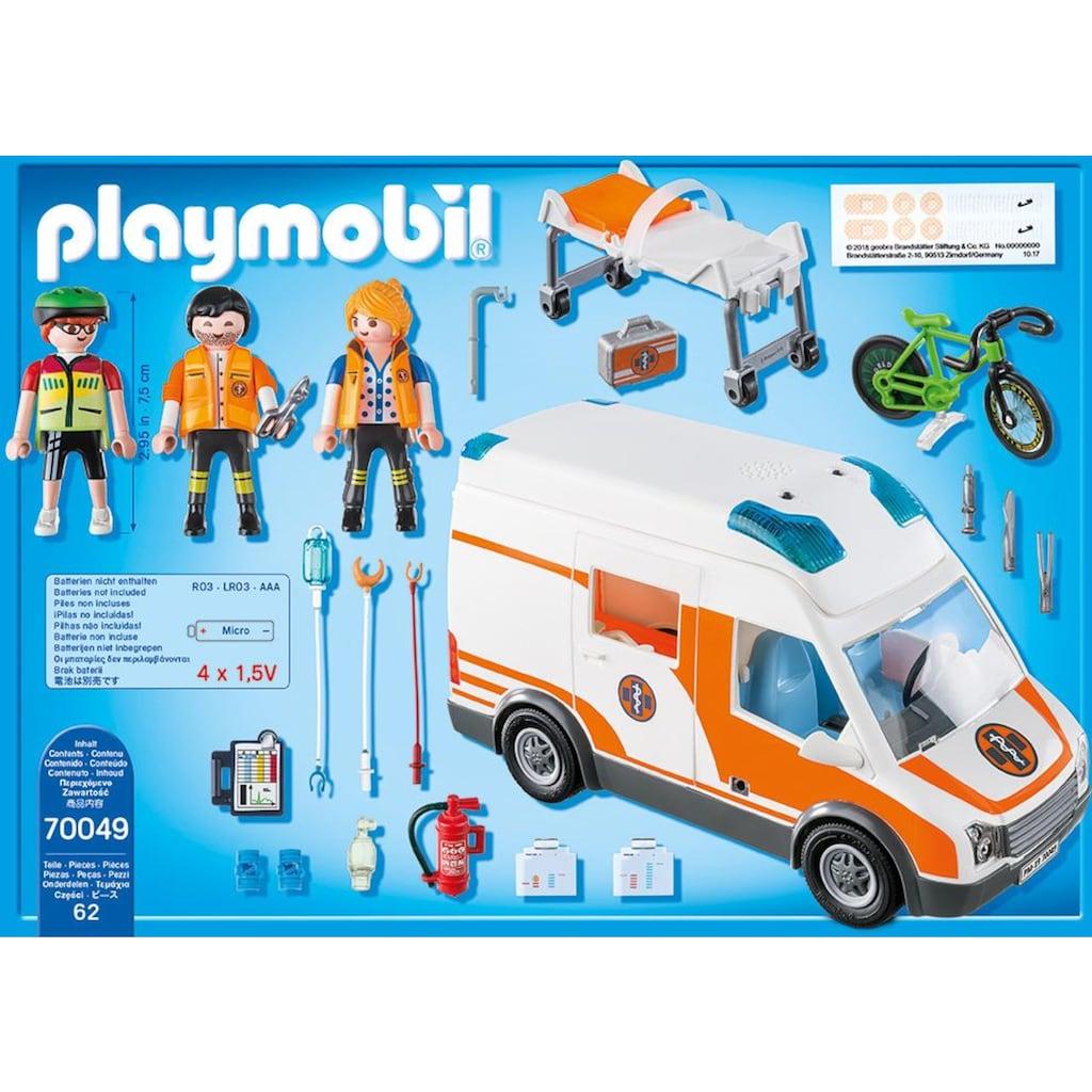 Playmobil® Konstruktions-Spielset »Rettungswagen mit Licht und Sound (70049), City Life«, (62 St.), Made in Germany