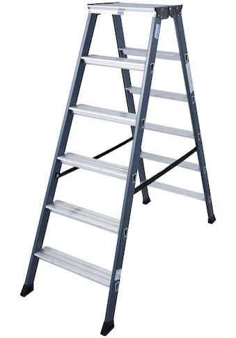 KRAUSE Doppelleiter »SePro D«, Alu eloxiert, 2x6 Stufen, Arbeitshöe ca. 285 cm kaufen