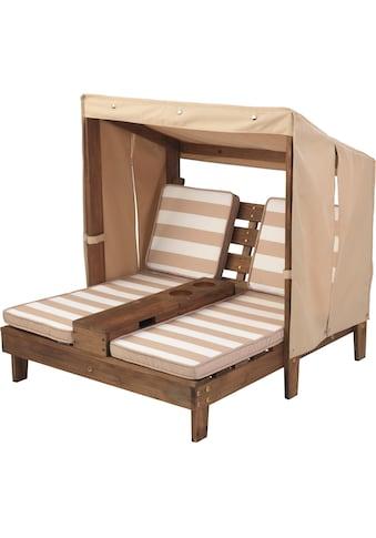 """KidKraft® Kinderklappstuhl """"Doppelte Sonnenliege mit Getränkehaltern, weiß - beige"""" kaufen"""