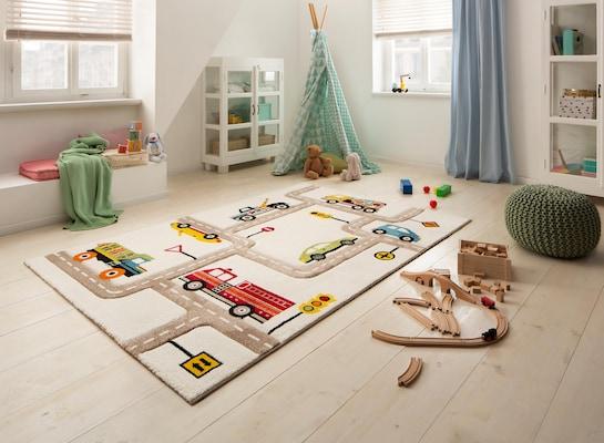 Kinderteppich mit Straßen und Autos