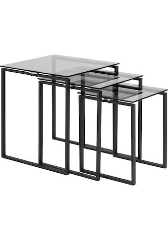 andas Satztisch »Karolina«, (3 St.), mit einer Rauchglasplatten und einem schönen Metallgestell kaufen
