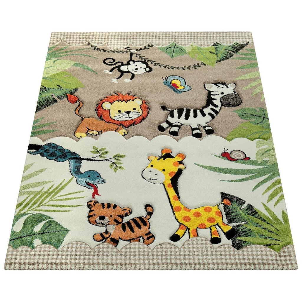 Paco Home Kinderteppich »Diamond 644«, rechteckig, 18 mm Höhe, Kurzflor, 3D-Design Dschungel Tiere, Kinderzimmer