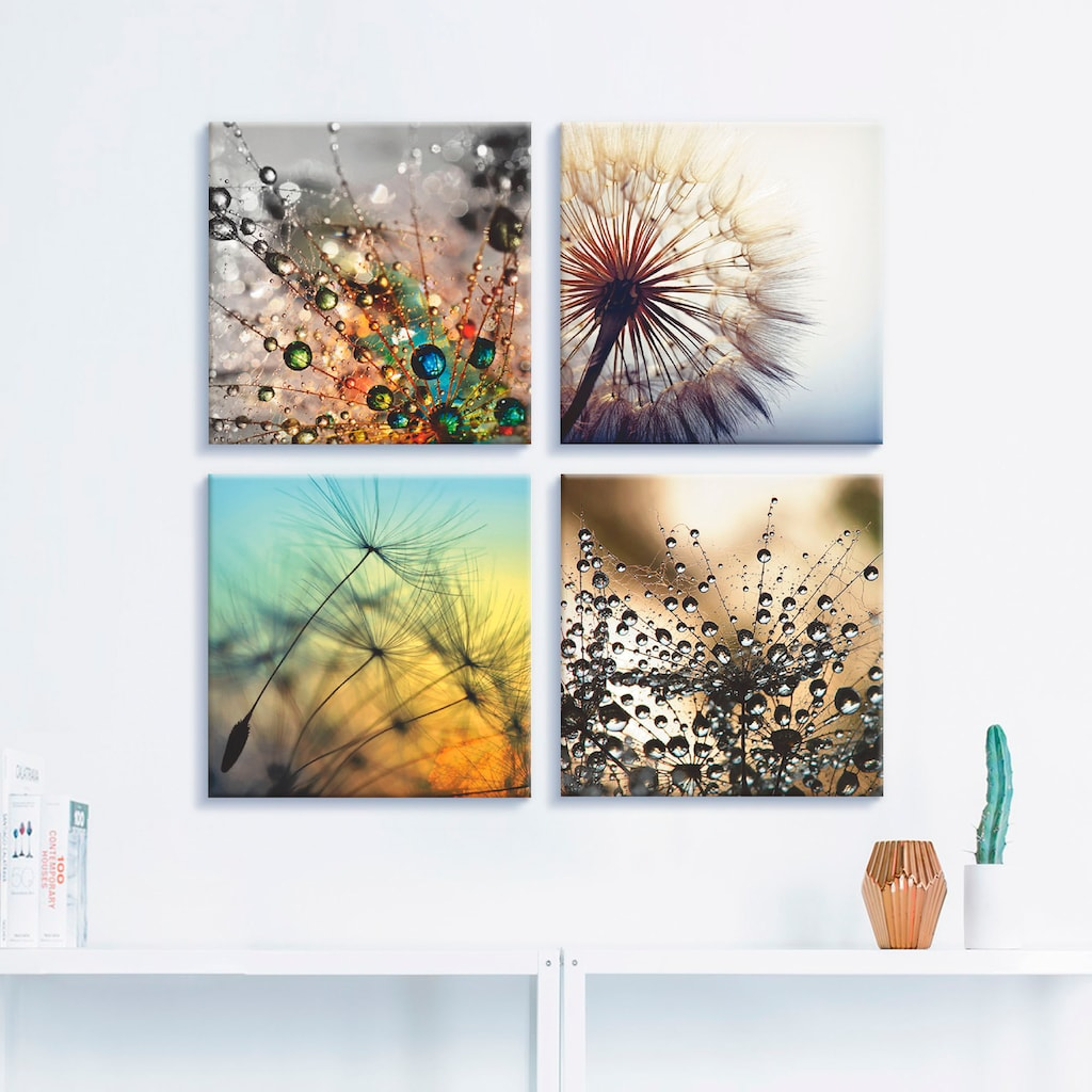 Artland Leinwandbild »Pusteblume,Nahaufnahme Löwenzahn«, Blumen, (4 St.)