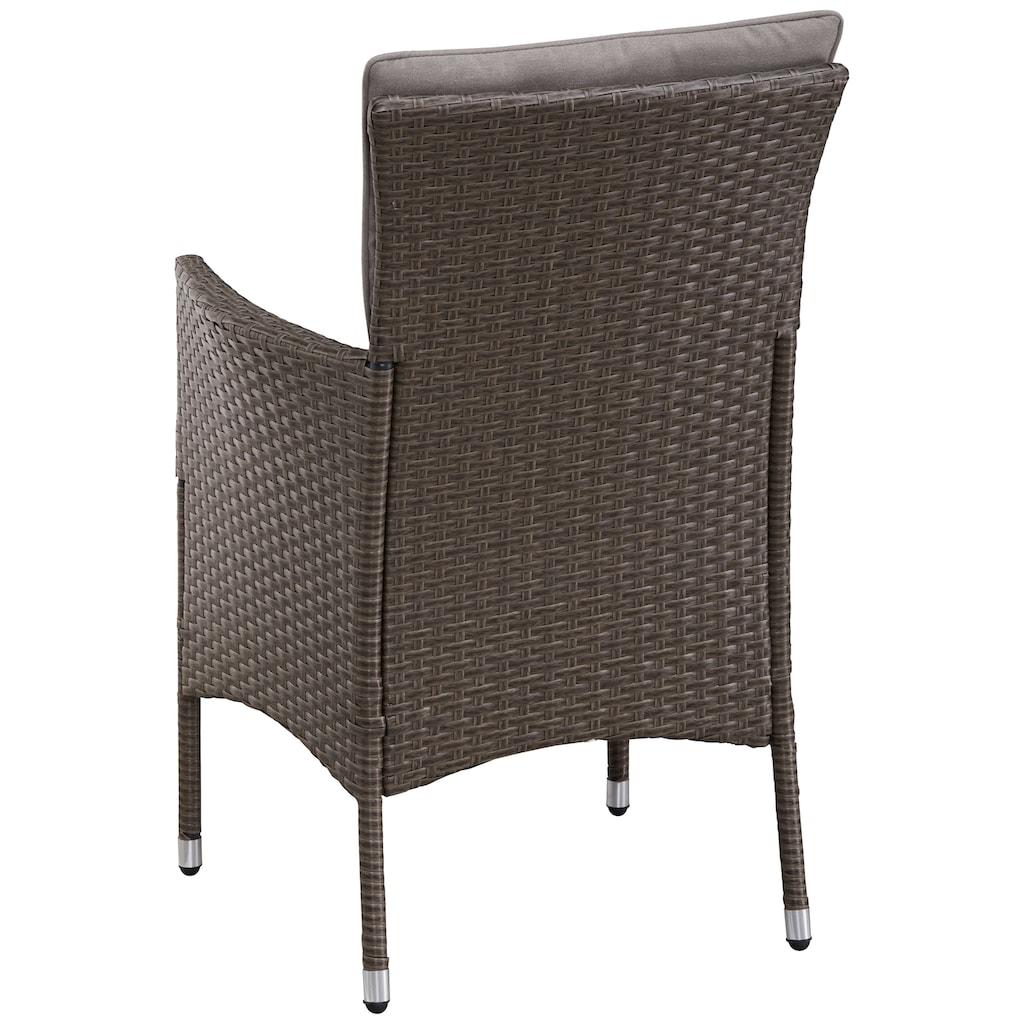 KONIFERA Gartenmöbelset »Mailand«, (7 tlg.), 2 Sessel, Tisch 112x65 cm, Polyrattan