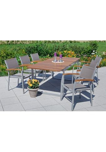 MERXX Gartenmöbelset »Naxos«, 7 - tlg., 6 Sessel, Tisch 90x200 cm, Textil/Akazie, braun kaufen