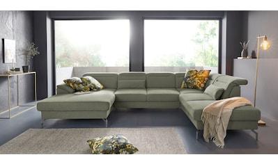 sit&more Wohnlandschaft, 15 cm Fußhöhe, inklusive Sitztiefenverstellung, wahlweise Kopfteilverstellung, wahlweise in 2 unterschiedlichen Fußfarben kaufen