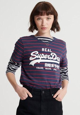Superdry T-Shirt »VINTAGE LOGO STRIPE ENTRY TEE«, in modischem Streifenmuster kaufen