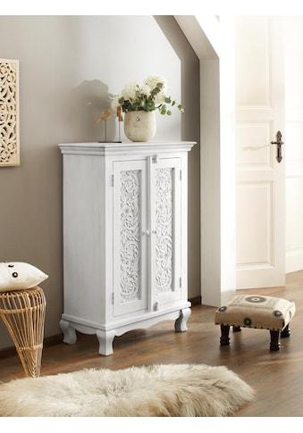 Home affaire Kleiderschrank »Rajat«, aus schönem massivem Mangoholz, mit dekorativen Fräsungen, Breite 80 cm kaufen