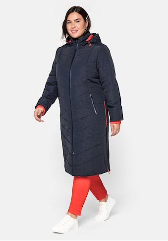Sheego Steppmantel, mit abzippbarer Kapuze und Kontrastdetails kaufen