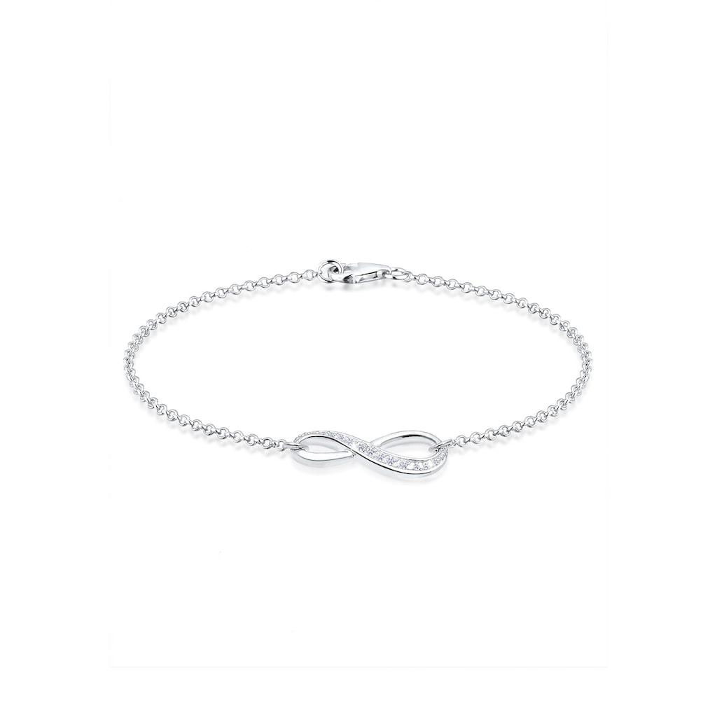 Elli Armband »Infinity/Unendlichkeit mit Zirkonia 925 Silber«