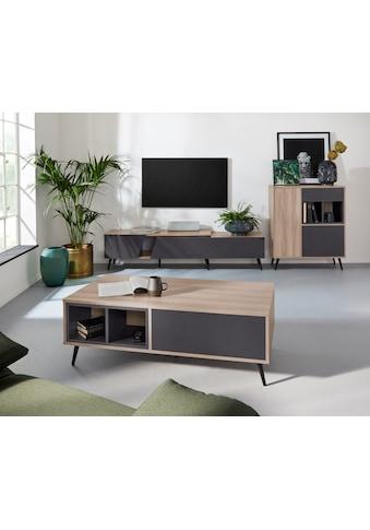 INOSIGN Lowboard »Layland«, erstraht in schöner Holzoptik, mit einer verlängerbaren Funktion, Grifflos, Breite 180-210 cm kaufen