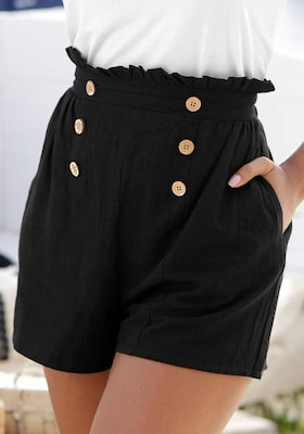 schwarze Shorts mit Zierknöpfen
