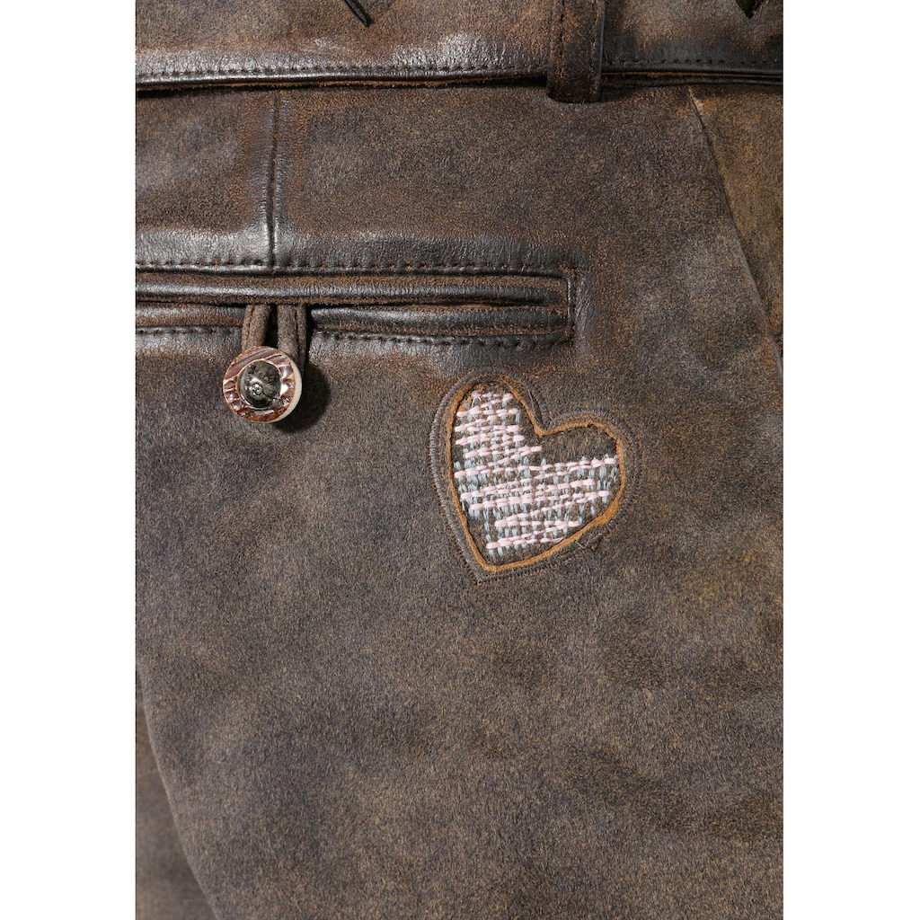 Country Line Trachtenlederhose, (2 tlg., mit Gürtel), mit Herzerl-Stickerei