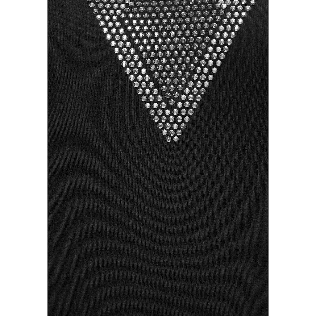 Melrose V-Shirt, mit Cut Outs und Glitzersteinen