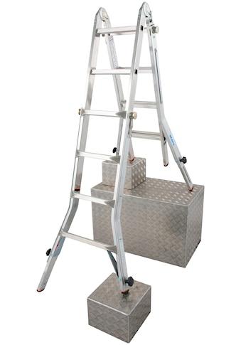 KRAUSE Gelenkleiter »TeleVario«, Alu, 4x4 Sprossen, Arbeitshöhe ca. 498 cm kaufen