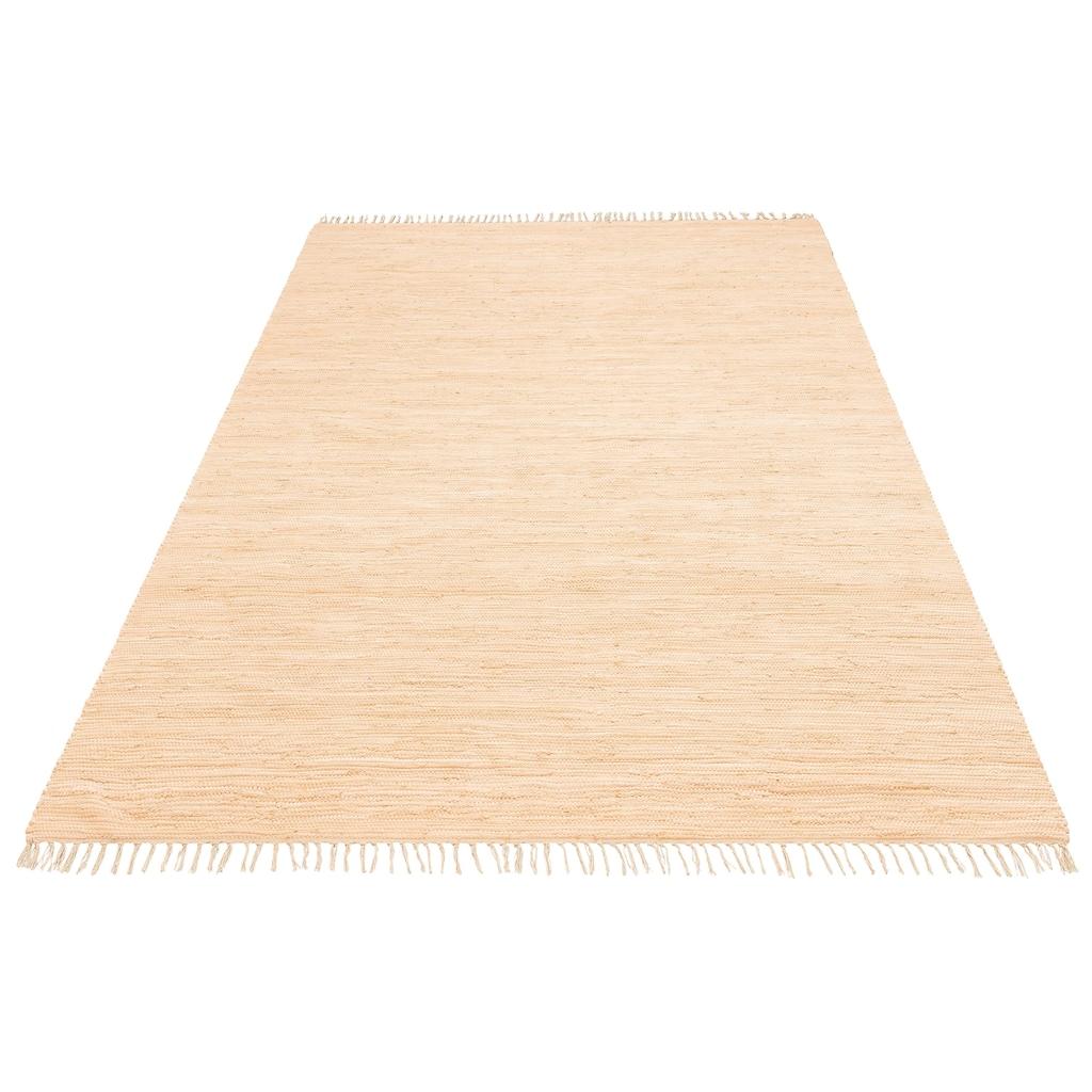 my home Teppich »Ares«, rechteckig, 5 mm Höhe, handgewebt, mit Fransen, Wohnzimmer