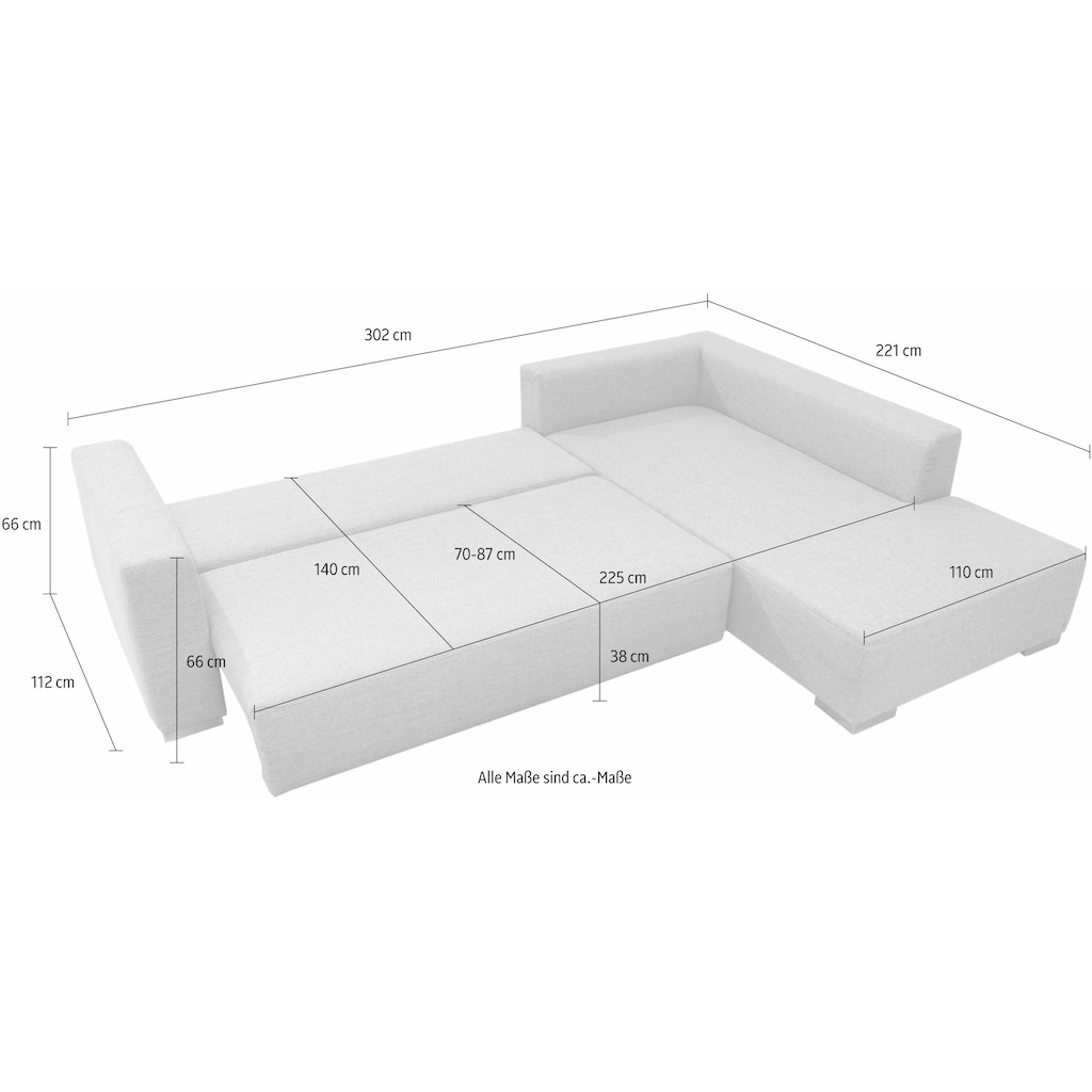 TOM TAILOR Ecksofa »HEAVEN CASUAL XL«, aus der COLORS COLLECTION, wahlweise mit Bettfunktion & Bettkasten