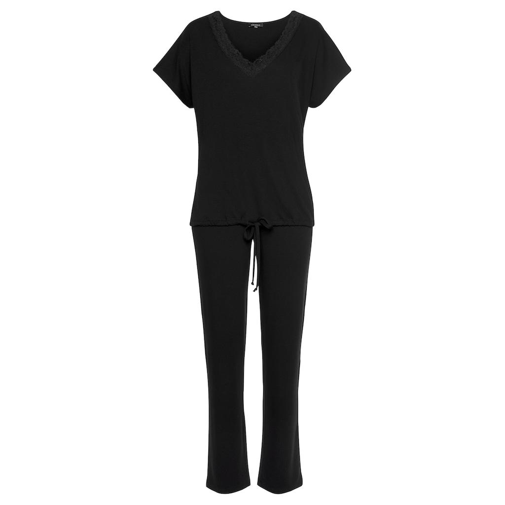 LASCANA Pyjama, mit Spitze und Saumbändchen