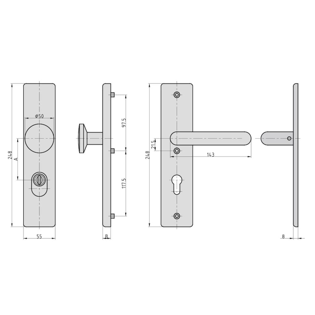 BASI Türbeschlag »SB 7500 ES0 - ZA 72/8 mm Edelstahl«, eckig