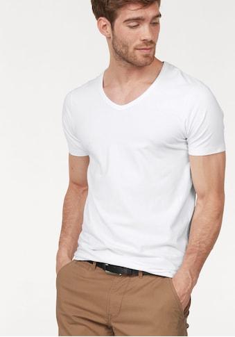 Jack & Jones T-Shirt »SLIM- FIT BASIC TEE V-NECK«, mit V-Ausschnitt kaufen