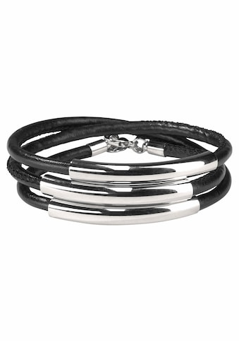 J.Jayz Wickelarmband »schwarzes Armband zum Wickeln mit Naht und 3 Metallelementen«, (1 tlg.) kaufen