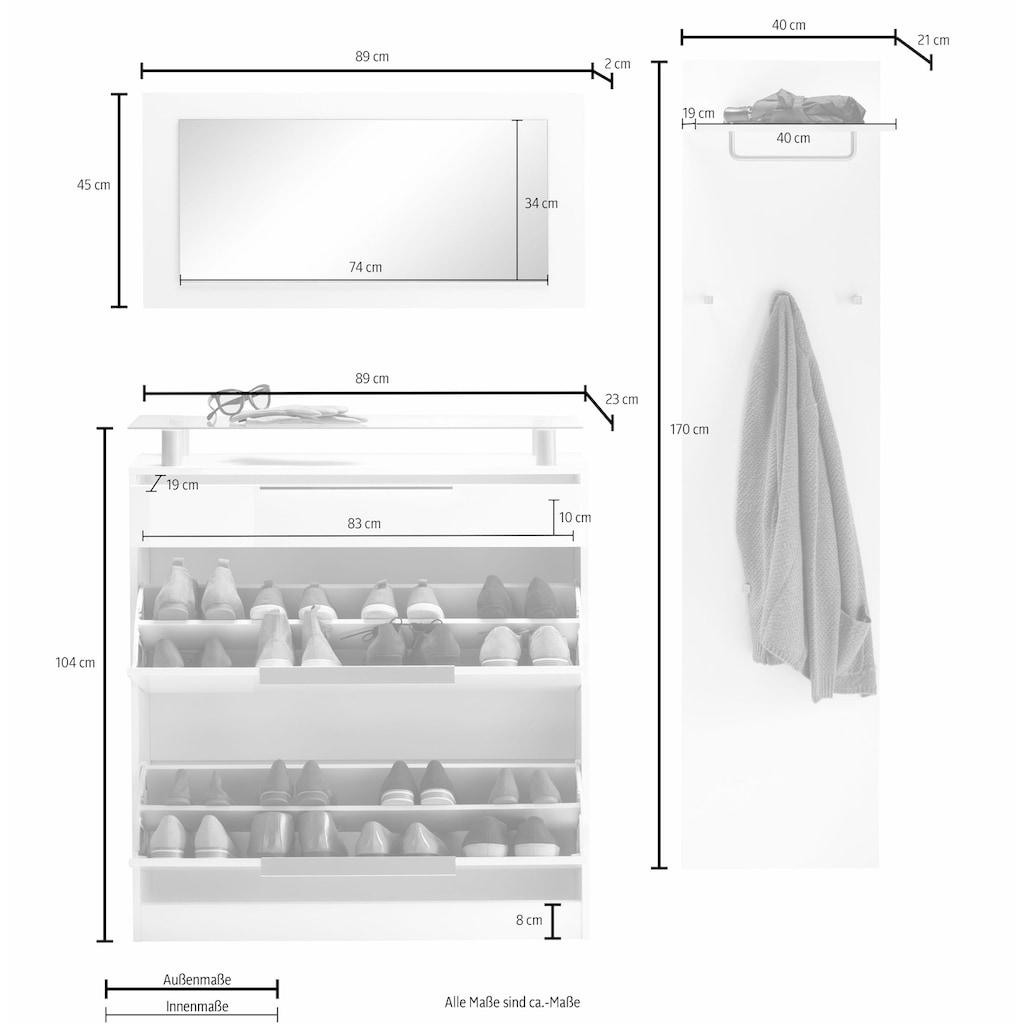 borchardt Möbel Garderoben-Set »Olivia«, (Set, 3 St.), (3-tlg.), stehender Schuhschrank