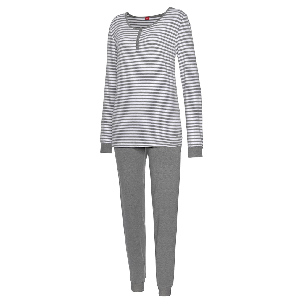 s.Oliver Bodywear Pyjama, mit seitlichen Streifen am Bein