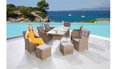 MERXX Gartenmöbelset »Seattle«, (9 tlg.), 6 Sessel, 2 Hocker mit Tisch kaufen