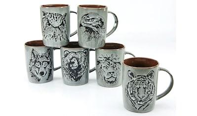 CreaTable Becher »Wildlife«, (Set, 6 tlg.), Steinzeug, Tiermotive als Relief kaufen