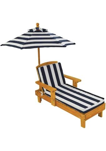 """KidKraft® Kinderklappstuhl """"Liegestuhl mit Sonnenschirm, weiß - blau"""" kaufen"""