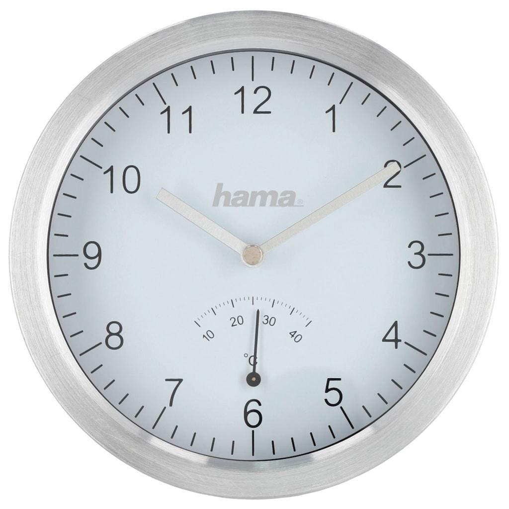 Hama Badezimmeruhr mit Saugnäpfen und Aluminiumrahmen, Silber
