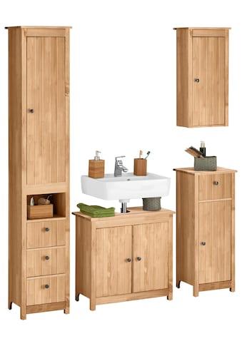 Home affaire Badmöbel-Set »Westa«, (Set, 4 tlg.), aus Hochschrank, Waschbeckenunterschrank, Unterschrank, Hängeschrank aus Massivholz, Kiefernholz, Metallgriffen, pflegeleichte Oberflächen kaufen