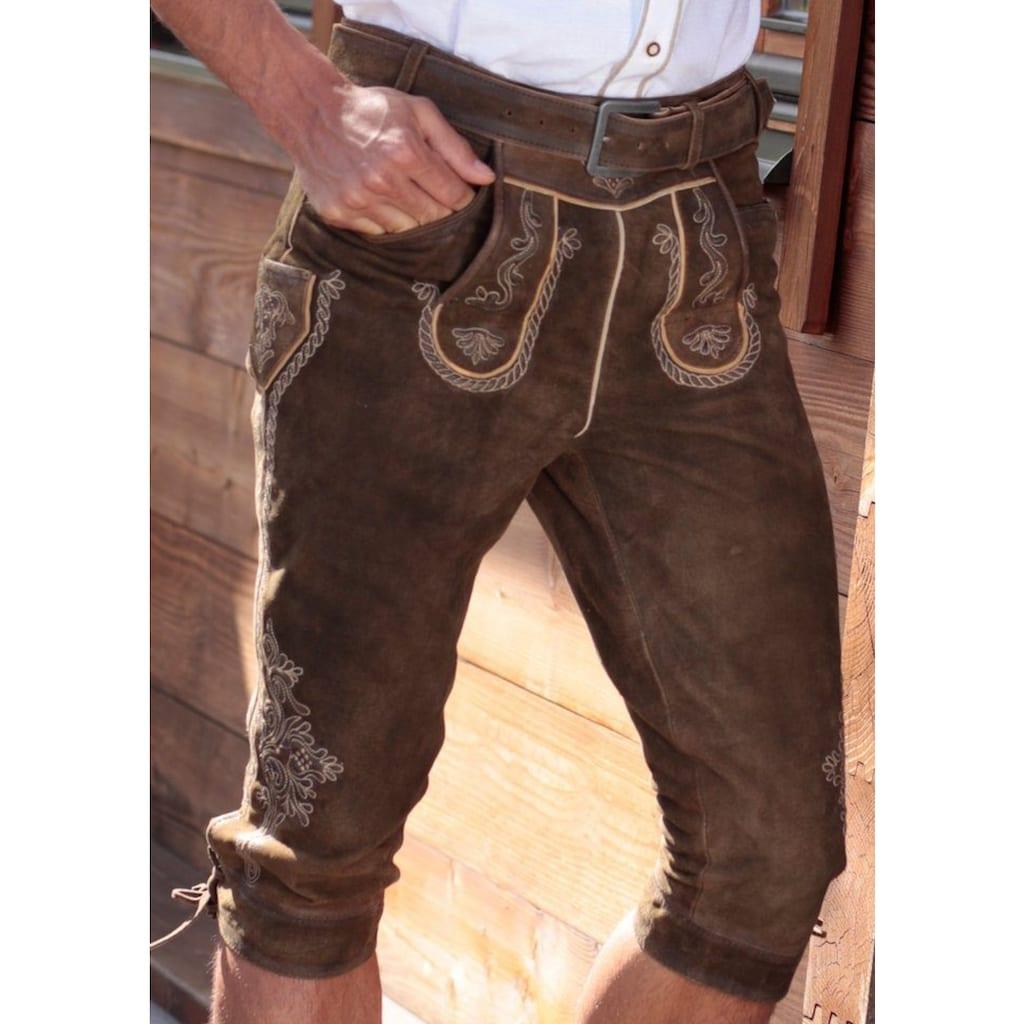 MarJo Trachtenlederhose »Herren«, (2 tlg., mit Gürtel), mit traditioneller Stickerei
