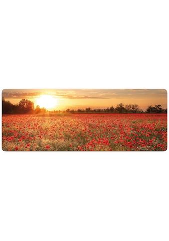 Wall - Art Glasbild »Mohnfeld im Sonnenuntergang Panorama« kaufen
