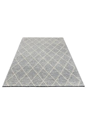 My HOME Wollteppich »Lior«, rechteckig, 10 mm Höhe, reine Wolle, top Qualität, Rauten Design, Wohnzimmer kaufen
