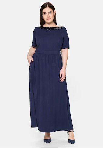 Sheego Abendkleid, mit Pailletten am Ausschnitt kaufen