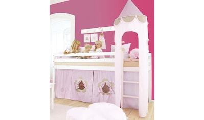 """Hoppekids Hochbett, inkl. """"Fairytale Flower""""-Vorhang, Matratze und Rollrost kaufen"""