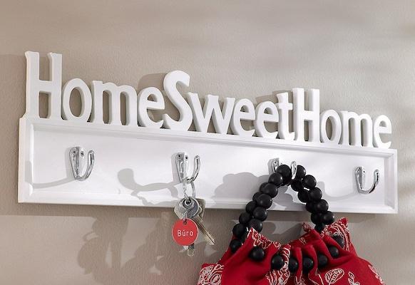 Garderobenhaken Home Sweet Home in Weiß