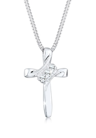 Elli Collierkettchen »Kreuz Modern mit Kristalle 925 Silber« kaufen