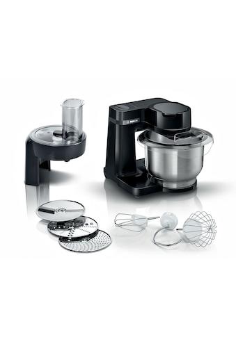 BOSCH Küchenmaschine »MUMS2EB01 MUM Serie 2«, vielseitig einsetzbar, Durchlaufschnitzler, 3 Reibescheiben, Patisserieset Edelstahl, schwarz kaufen