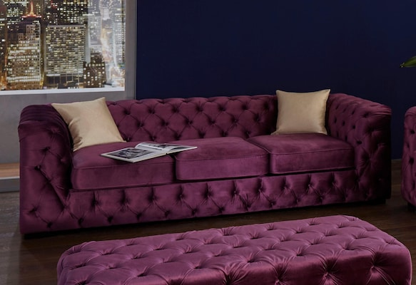 Chesterfield Sofa in Lila aus Samt
