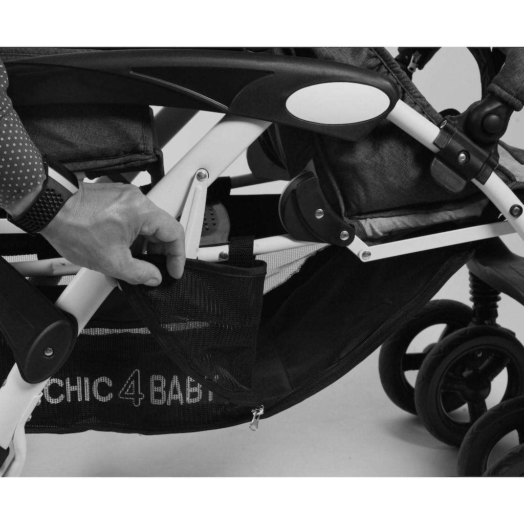 CHIC4BABY Geschwisterwagen »Doppio, Melange anthrazit«, mit feststellbaren Doppelschwenk-Vorderrädern